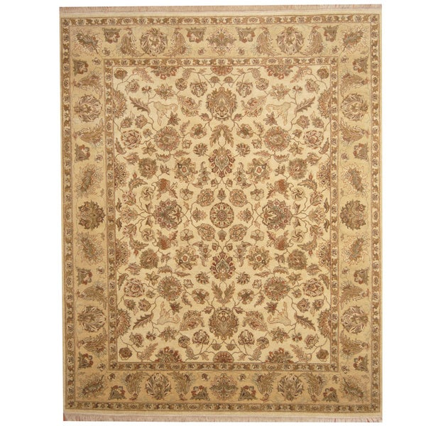Handmade Herat Oriental Indo Vegetable Dye Ivory/ Beige Wool Rug (India) - 8' x 10'