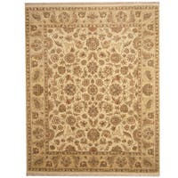 Herat Oriental Indo Hand-knotted Vegetable Dye Ivory/ Beige Wool Rug - 8' x 10'