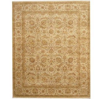 Herat Oriental Indo Hand-knotted Vegetable Dye Ivory/ Gold Wool Rug (8' x 10')