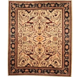 Herat Oriental Afghan Hand-knotted Vegetable Dye Ivory/ Navy Wool Rug (8' x 9'9)