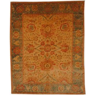 Herat Oriental Egyptian Hand-knotted Vegetable Dye Ivory/ Green Wool Rug (7'4 x 9'1)