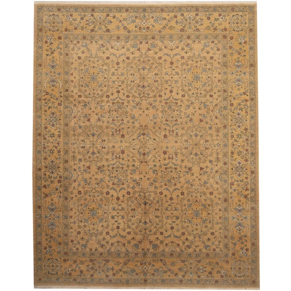 Herat Oriental Afghan Hand-knotted Vegetable Dye Gold/ Beige Wool Rug (8' x 10') - 8' x 10'