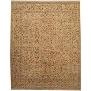 Herat Oriental Afghan Hand-knotted Vegetable Dye Gold/ Beige Wool Rug (8' x 10')