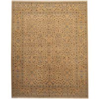 Herat Oriental Afghan Hand-knotted Vegetable Dye Gold/ Beige Wool Rug (8' x 10') - 8' x 10'