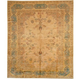 Herat Oriental Egyptian Hand-knotted Vegetable Dye Beige/ Gold Wool Rug (8' x 9'5)