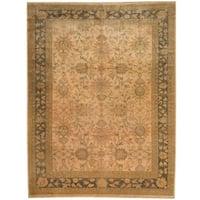 Herat Oriental Afghan Hand-knotted Vegetable Dye Beige/ Olive Wool Rug - 8'3 x 10'