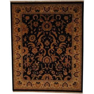 Herat Oriental Afghan Hand-knotted Vegetable Dye Black/ Ivory Wool Rug (8' x 10')