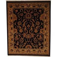 Herat Oriental Afghan Hand-knotted Vegetable Dye Black/ Ivory Wool Rug (8' x 10') - 8' x 10'