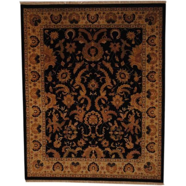 Herat Oriental Afghan Hand-knotted Vegetable Dye Black/ Ivory Wool Rug - 8' x 10'