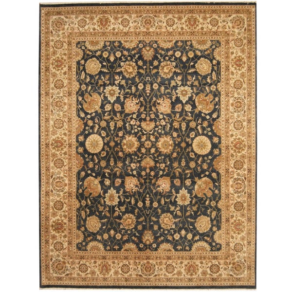 Handmade Herat Oriental Indo Vegetable Dye Navy/ Ivory Wool Rug - 7'7 x 9'10 (India)