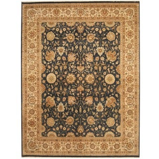 Herat Oriental Indo Hand-knotted Vegetable Dye Navy/ Ivory Wool Rug (7'7 x 9'10)