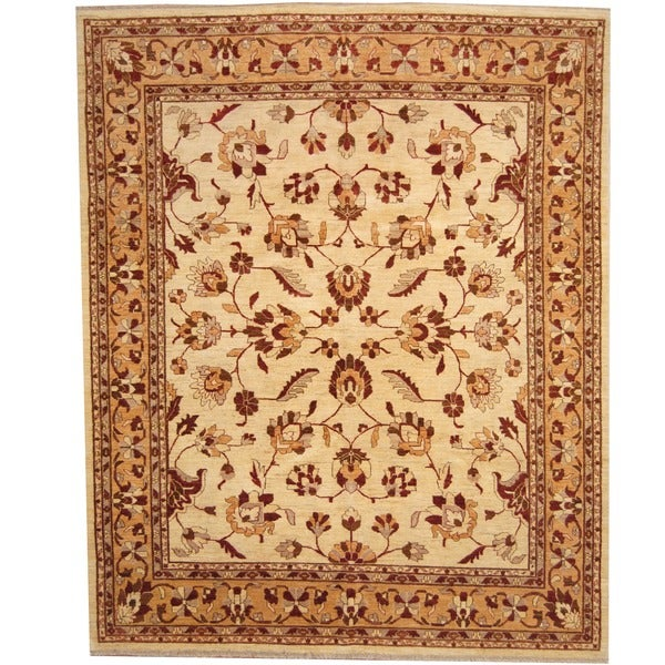 Herat Oriental Afghan Hand-knotted Vegetable Dye Ivory/ Gold Wool Rug (8' x 10') - 8' x 10'