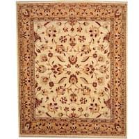 Handmade Herat Oriental Afghan Vegetable Dye Ivory/ Gold Wool Rug - 8' x 10' (Afghanistan)