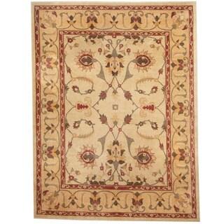 Herat Oriental Afghan Hand-knotted Vegetable Dye Ivory/ Beige Wool Rug (8'3 x 11')