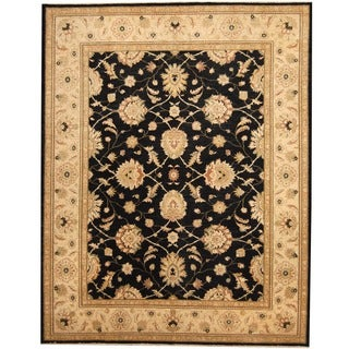 Herat Oriental Afghan Hand-knotted Black/ Ivory Vegetable Dye Wool Rug (8'1 x 10'3)