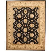 Herat Oriental Afghan Hand-knotted Black/ Ivory Vegetable Dye Wool Rug - 8'1 x 10'3
