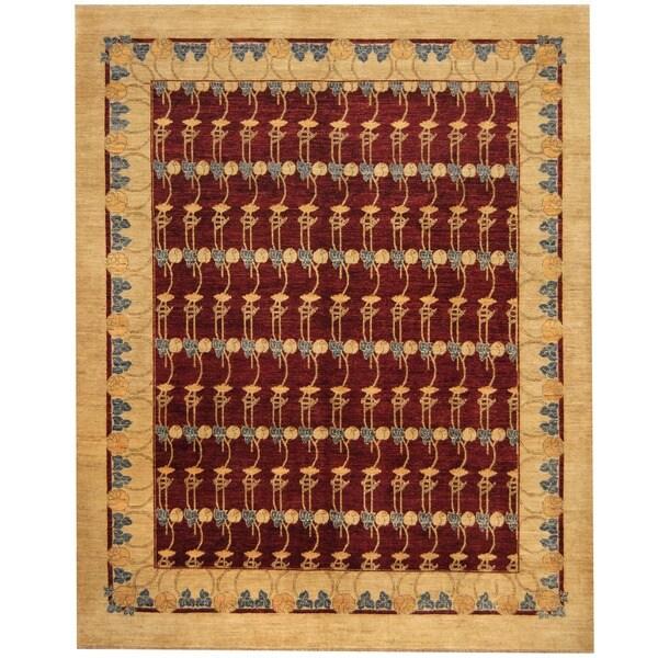 Herat Oriental Afghan Hand-knotted Vegetable Dye Burgundy/ Beige Wool Rug (8' x 10') - 8' x 10'