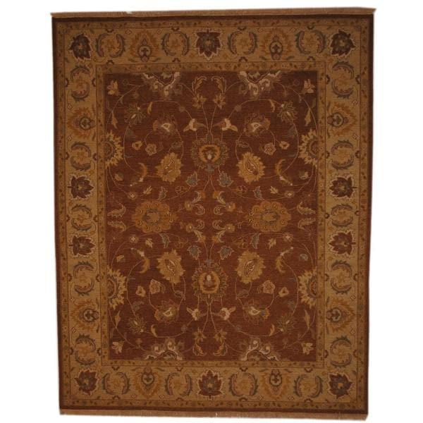 Herat Oriental Afghan Hand-woven Tribal Soumak Brown/ Ivory Wool Rug - 8' x 10'