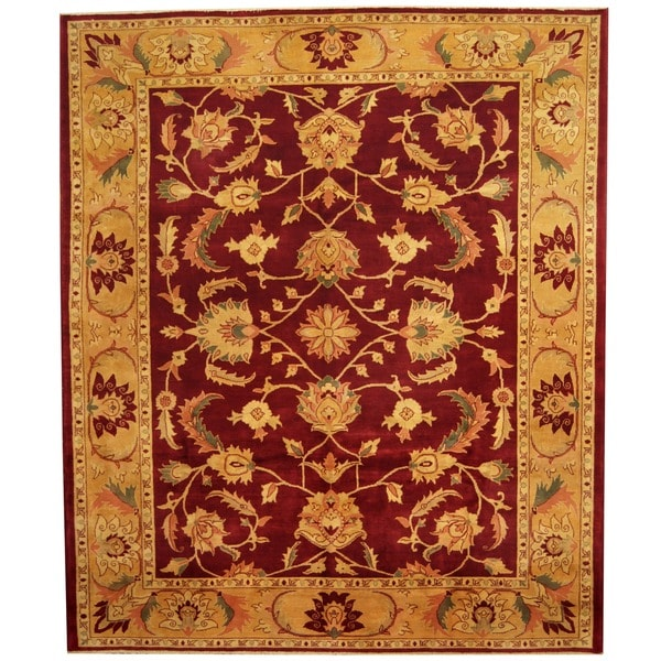 Herat Oriental Afghan Hand-knotted Vegetable Dye Red/ Gold Wool Rug (8'1 x 9'6) - 8'1 x 9'6