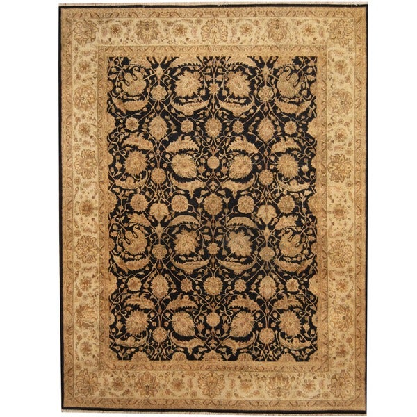 Herat Oriental Indo Hand-knotted Vegetable Dye Black/ Ivory Wool Rug (7'9 x 10'1) - 7'9 x 10'1