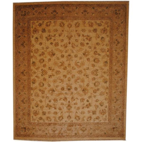 Handmade Herat Oriental Afghan Ivory/ Beige Vegetable Dye Wool Rug - 8' x 10' (Afghanistan)