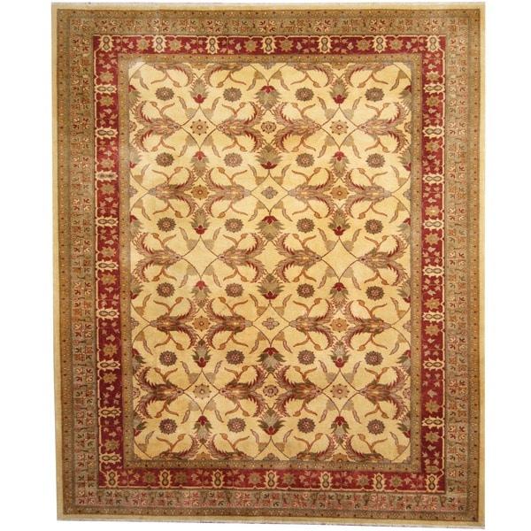 Handmade Herat Oriental Afghan Vegetable Dye Ivory/ Red Wool Rug - 8' x 10' (Afghanistan)