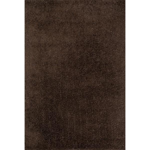 "Hand-tufted Brown Mocha Shag Area Rug - 5' x 7'6"""