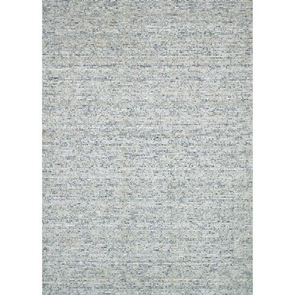 Handmade Estelle Green Wool/ Silk Rug - 5' x 7'6