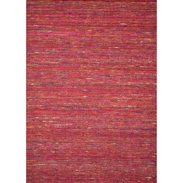 Handmade Estelle Orange Wool/ Silk Rug - 5' x 7'6