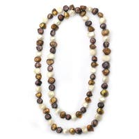 De Buman White, Plum and Gold Freshwater Pearl Long Strand Necklace (12-17 mm)