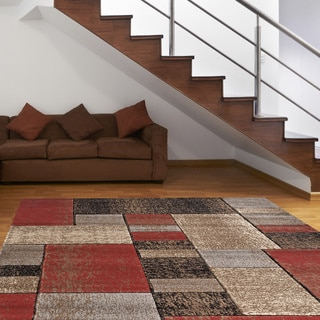 Shadowed Boxes Red Area Rug (5' 3 x 7' 3)