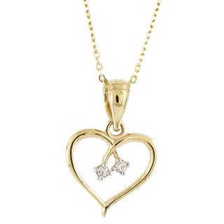 14k Yellow Gold White Cubic Ziconia Open Heart Charm Necklace