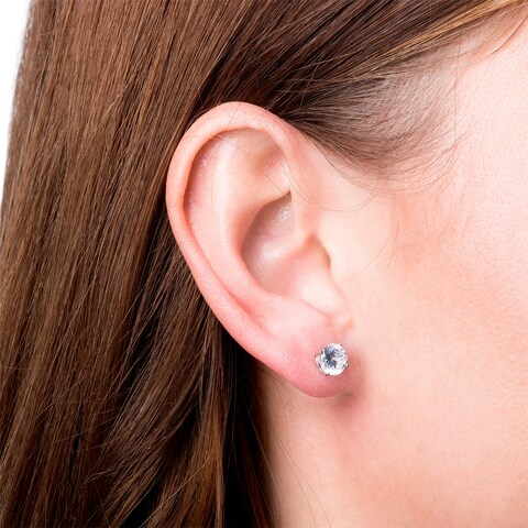 La Preciosa Sterling Silver White, Rose Gold Plated or Gold Plated CZ Circle Stud Earrings