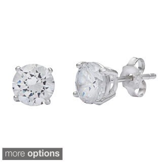 La Preciosa Sterling Silver White CZ Circle Stud Earrings
