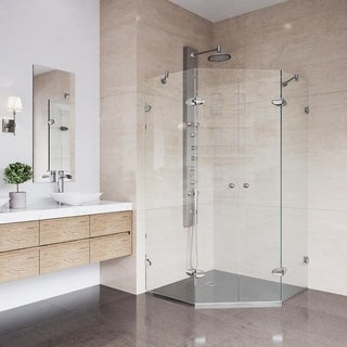VIGO Gemini 40 x 40 Frameless Neo-Angle .375-in. Clear Glass/Brushed Nickel Hardware Shower Enclosure