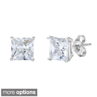 La Preciosa Sterling Silver White CZ Princess-cut Stud Earrings