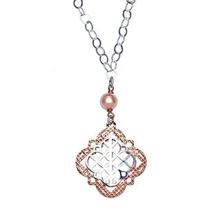 La Preciosa Sterling Silver and Rose Laser-cut Necklace