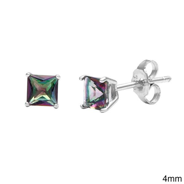 La Preciosa Sterling Silver Mystic CZ Princess-cut Stud Earrings