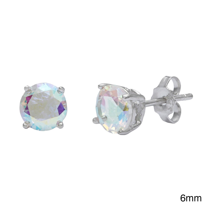 525f0790b Shop La Preciosa Sterling Silver Aurora Borealis CZ Circle Stud Earrings -  On Sale - Free Shipping On Orders Over $45 - Overstock - 8712098
