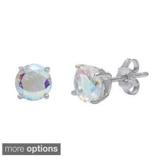 La Preciosa Sterling Silver Aurora Borealis CZ Circle Stud Earrings