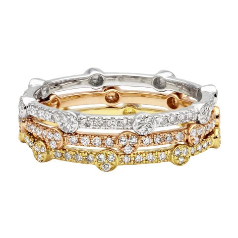 14k Gold 1/6ct TDW Stackable Diamond Eternity Band Ring by Beverly Hills Charm - White