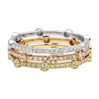 Beverly Hills Charm 14k Gold 1/6ct TDW Stackable Diamond Eternity Band Ring