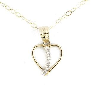 14k Yellow Gold Fashionable Cubic Zirconia Heart Charm Necklace