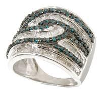 Sterling Silver 1 3/4ct TDW Blue/ White Diamond Ring