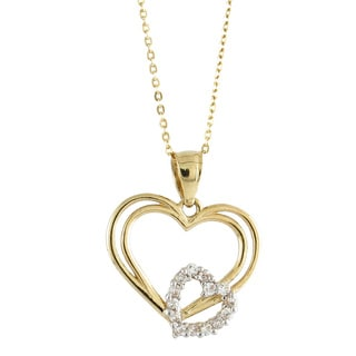 14k Yellow Gold Fashionable Cubic Zirconia Interlocking Double Heart Charm Necklace