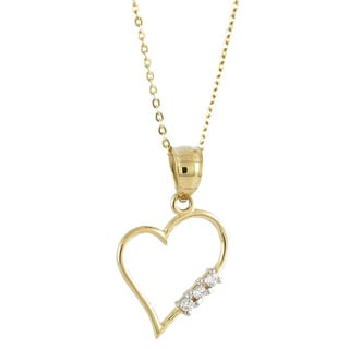 14k Yellow Gold White Cubic Zirconia Asymmetrical Heart Charm Necklace