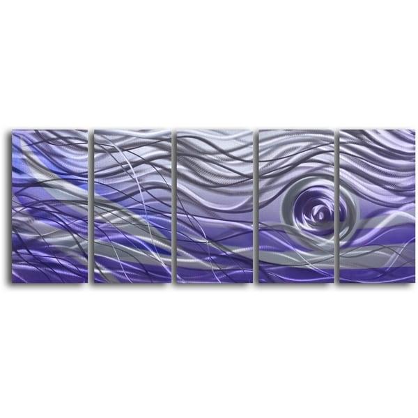 'Violet Vortex' 5-piece Handmade Metal Wall Art Set