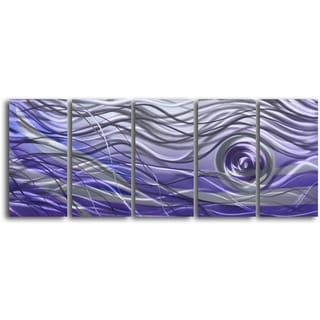 'Violet Vortex' 5-piece Handmade Metal Wall Art Set