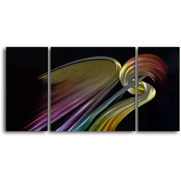 'Two Rainbow Cranes' Handcrafted 3-piece Metal Wall Art Set