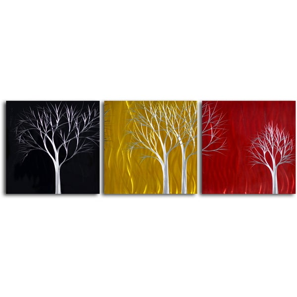 Shop \'Seasons Pass\' Handcrafted 3-piece Metal Wall Art Set - On Sale ...